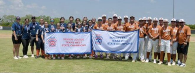 The Alice National Seniors, right, were the first Alice little league baseball team to win a state championship and the Alice Senior Softball girls were crowned Texas West State champions.