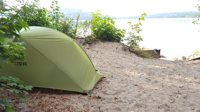 The ideal campsite — on a desert island where the only other two-legged creatures have feathers.