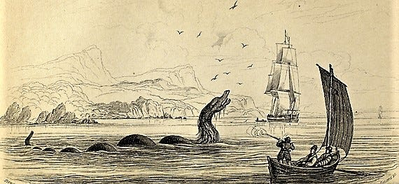 Small engraving of the sea monster drawn by Erik Pontoppidan (1688-1764) a Danish author, bishop and antiquary. Pontoppidan wrote on the Natural History of Norway, which was first published in Danish in 1752.