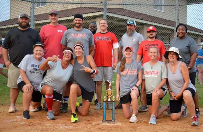 The Screven County Middle School team composed of school staff and spouses won the first system-wide kickball tournament at the county recreation department July 23.