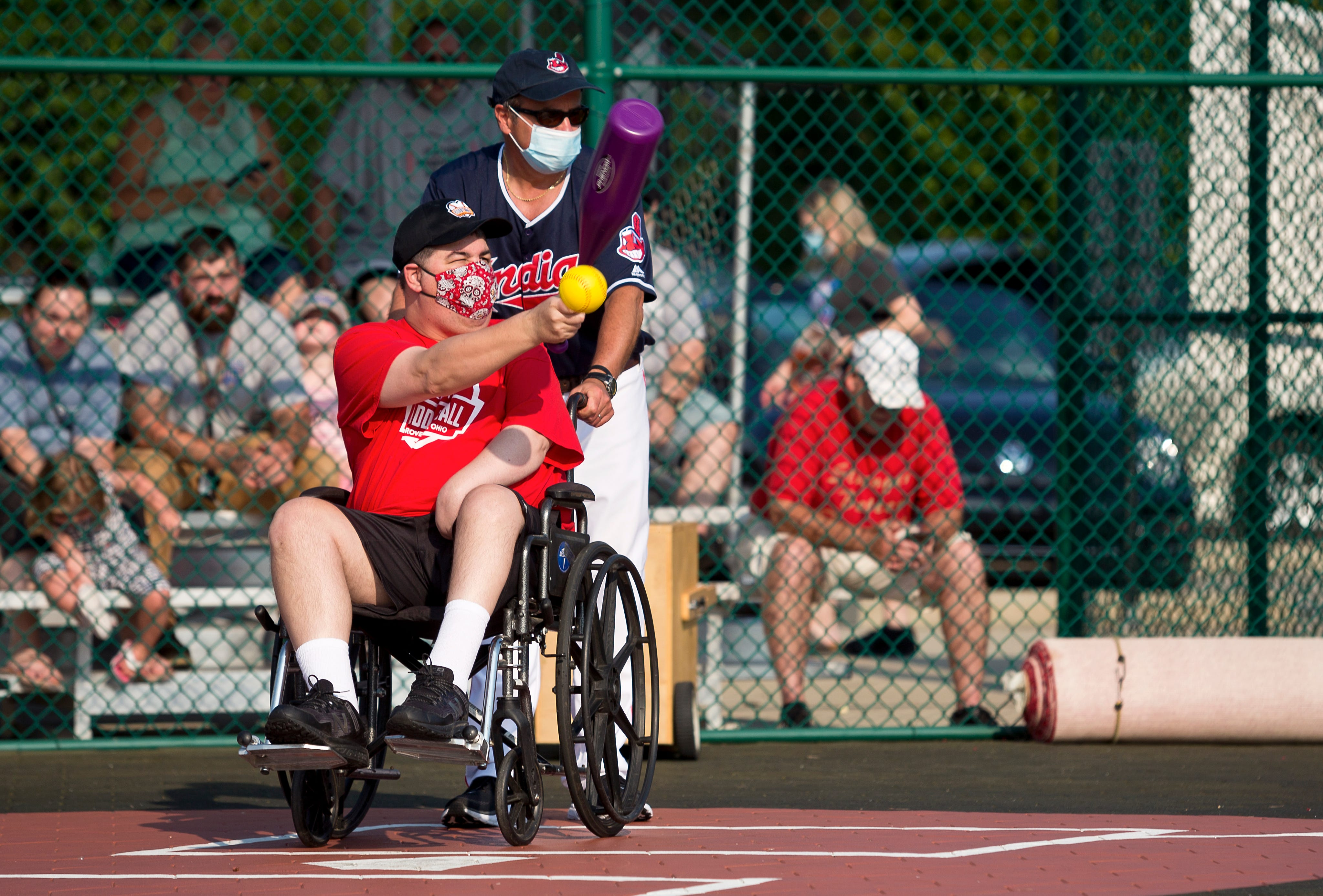 Everyday Hero Mark Sigrist photographed with his buddy Derek Somers during the final Buddy Ball game of the summer session on Wednesday, July 14, 2021.