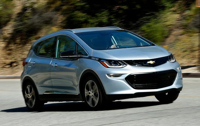 The 2017 Bolt EV. For the second time in a year, GM is recalling more than 68,000 Chevy Bolts for fire risk.  (Mel Melcon/Los Angeles Times/TNS)