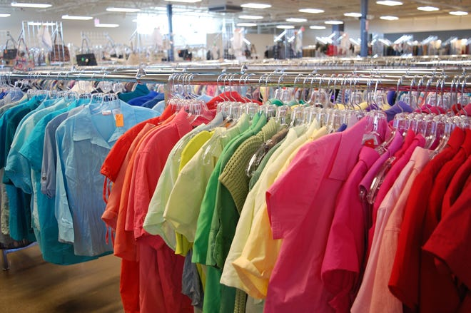 This row of clothing can be found at Volunteers of America store in Pickerington. Company are modeling a future store on West Henderson Road on the Pickerington model.