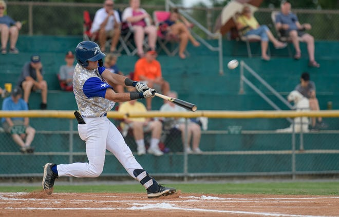 Leesburg's Robbie Scott (2) blasts a three-run homer during a Monday's Florida College Summer League playoff game against DeLand at Pat Thomas Stadiujm-Buddy Lowe Field in Leesburg. The Lightning beat the Suns 10-2 in seven innings. [PAUL RYAN / CORRESPONDENT]
