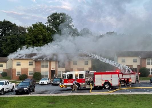 Lexington Fire Department responds to a fire at The Club Apartments on London Court on Monday.