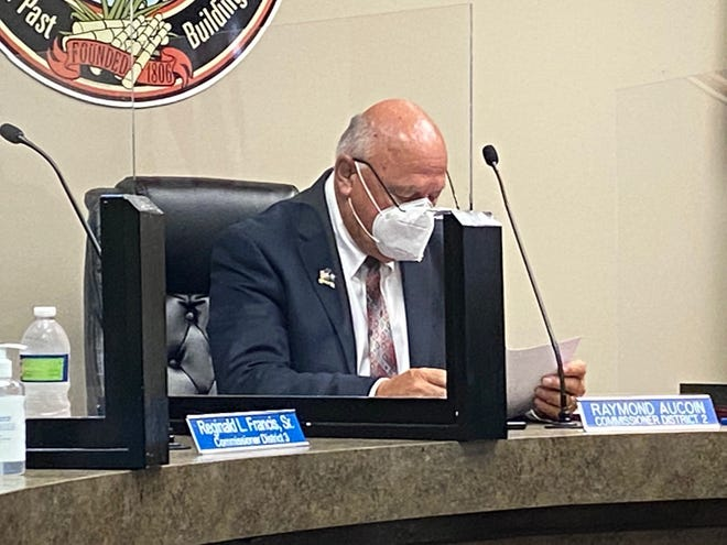 Donaldsonville City Council Vice Chair Raymond Aucoin goes over the agenda during the July 27 meeting.