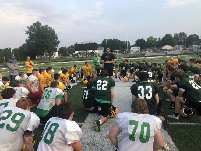 Drew Himmelman, a Geneseo graduate, who currently is training with the Denver Broncos Football Team, stopped to visit the players at the recent GHS football camp.