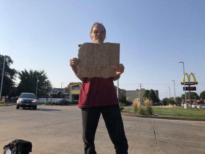 William Rogers, 57, has lived in Peoria his whole life, but for the last two months he's been experiencing homelessness for the first time. He does not know what else to do other than panhandle.