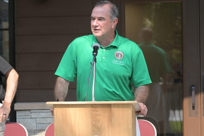 Missouri Lt. Governor Mike Kehoe speaks during a ceremony to commemorate the opening of the new park office at Thousand Hills State Park in Kirksville.