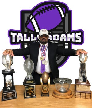 In this photo taken from his website, Tally Adams poses with some of the championship trophies he's helped teams win throughout the years.
