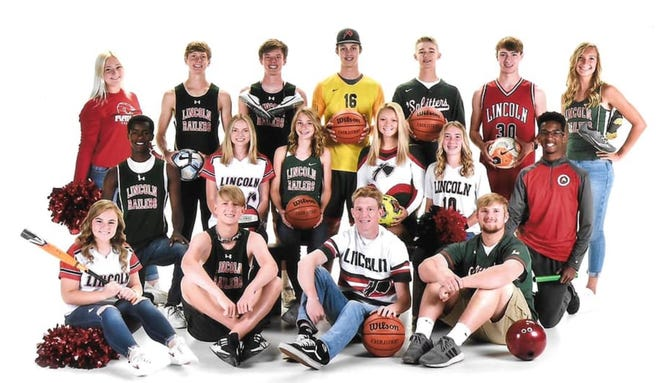 Lincoln Community High School recently honored athletes that participated in three sports for the 2020-2021 season. Bottom row from left: Alyvia Gannon, Tyson Lile, Dylan Singleton and Tanner Strampp. Middle row from left: Aidan Gowin, Emily Paulus, Becca Heitzig, Emma Boyd, Hattie Mourning and Jalen Franz. Back row from left: Kate Miller, Garrett Slack, Drake Rutledge, Jaden Klopp, Andrew Graue, Jacob Bivin and Reese McCuan.