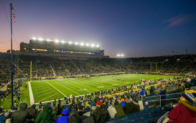 A view of the field during the Notre Dame-Navy NCAA college football game on Saturday, Nov. 16, 2019, at Notre Dame Stadium in South Bend.