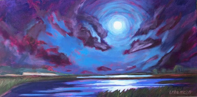 """""""Moon Dance over the Marsh,"""" a painting by featured artist Suzette Lebenzon."""