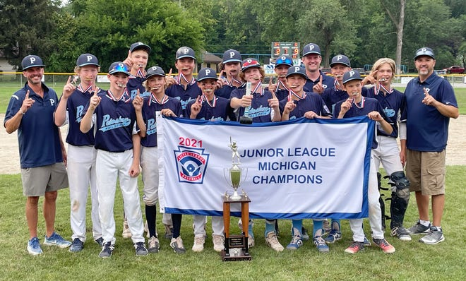The Petoskey Junior All-Star baseball team earned the first state championship for a Petoskey team Monday in Saginaw. Team members include: Nick Timm, Jordan Beigle, Haden Janes, Mason Fralick, Drew Olson, Peyton Harmon, Ben Lansing, Gavin Szalkowski, Hiram Walker-Gross, Ely Pethers, Garrett Wodek, Trent Black, Brendan Swiss and Rowan Dohm. The team is managed by Mark Wodek and coached by Rob Beigle and Jerry Timm.