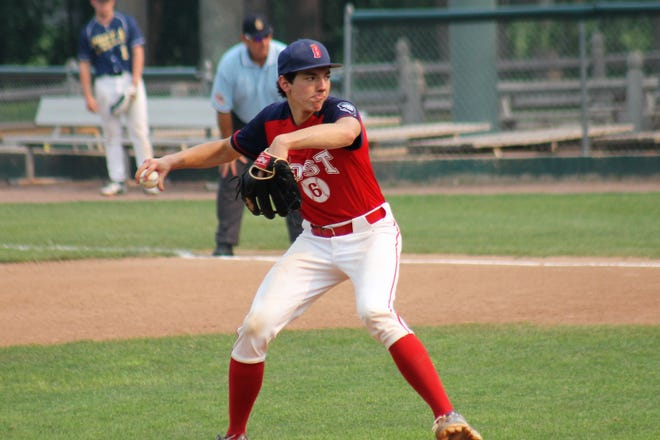 Bailey Wright pitched five strong innings to lead Booma Post 6 to a 3-1 victory over Keene on Monday in the Sr. Legion state tournament at Nashua's Holman Stadium.
