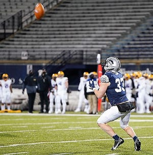 University of New Hampshire senior safety Evan Horn, shown here during last spring's game against Albany, was named to the 2021 CAA Football Preseason All-Conference Team during the league's Media Day on Tuesday.