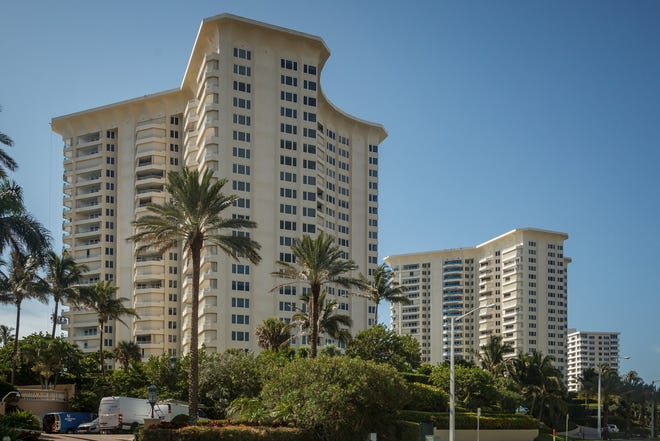 The Chalfonte condominiums at 500 South Ocean Boulevard in Boca Raton, Fla., on Tuesday, July 27, 2021.