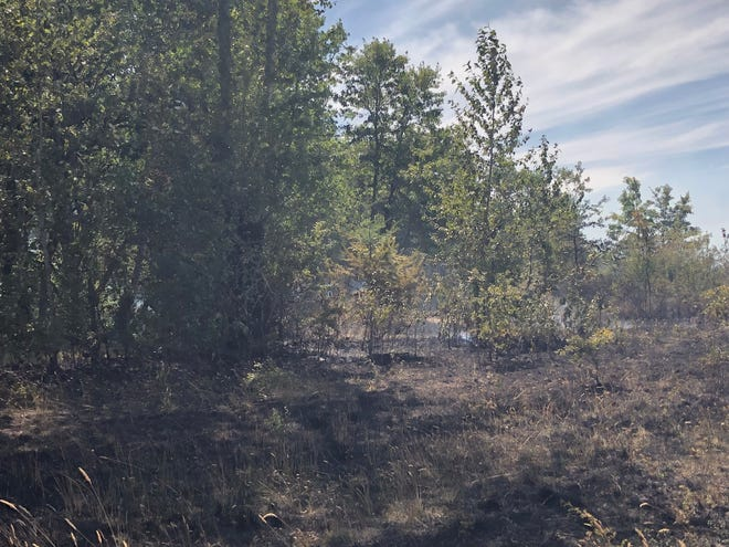 Firefighters work to put out a brush fire near Fir Butte Road and Bridges Lane west of Eugene on Monday, July 26, 2021.
