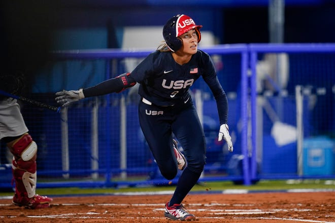 Janie Reed runs to first after hitting a triple during Tuesday's gold medal softball game against Japan at the Tokyo Olympics in Yokohama, Japan. Reed had two hits, but the U.S. lost 2-0 to take home the silver medal.