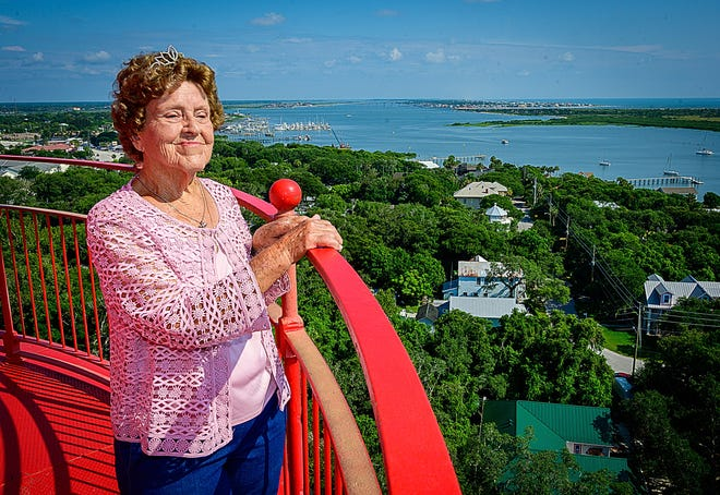 Wilma Thompson looks from the top of the St. Augustine Lighthouse after climbing to the top to celebrate her 90th birthday on Tuesday. Thompson, whose father Cardell Daniels was a lighthouse keeper, lived on the grounds of the lighthouse when she was a child.