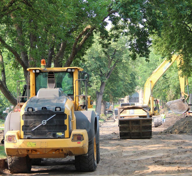 First Avenue is under construction from just north of the railroad tracks to St. Mary's School. This photo was taken on Monday afternoon. At that time motorists could still cross First Avenue on Elm Street—but not go either north or south of there. St. Mary's Street is closed in front of the school. The other ways out of the northeast part of town include the new 12th Avenue/Elm Street route or at the intersection on Pine Street.