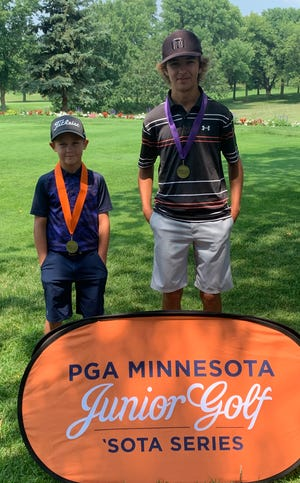 Sleepy Eye Golf Club served as host for a Minnesota Junior PGA golf tournament on Thursday, July 15. Golfers from various parts of Minnesota, ages of 8 to 19, competed in the tournament. Local golfers, Nolan Kucera (left) won the 10-12 age group with a 9 hole score of 44, and Carson Erickson won the 16-19 age group with an 18 hole score of 75.