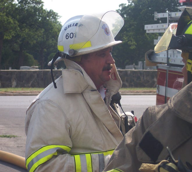 Longtime Stephenville Fire Chief Jimmy Chew is pictured on the scene of an incident in this file photo. Chew is retiring after serving for 50 years with the department. His last day is Friday.