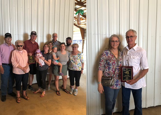 Farm family of the year: from left Jurgens family (2020) and Eng family (2021)