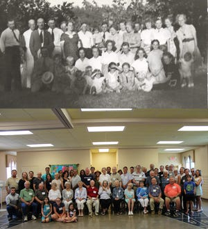 First photo first Madson family reunion photo from 8/31/1941 and last family photo taken 7/11/2021.
