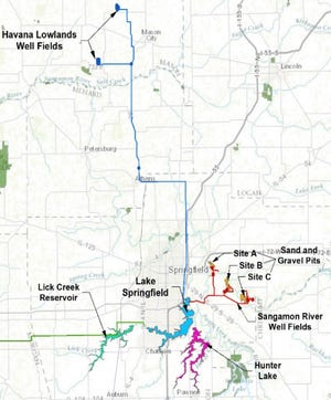 This updated map from the U.S. Army Corps of Engineers visualizes the various water alternatives for Lake Springfield in case of another 100-year drought. Additional water supplies could come from northern well fields or eastern sand and gravel pits if Lake Springfield were to dry out.