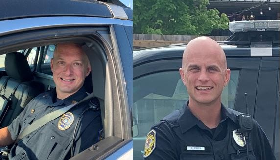 Chatham Police Sgt. Mark Poani, left, and Officer Roger Smith, right, are credited with the saving the life of a 59-year-old Chatham man last week.