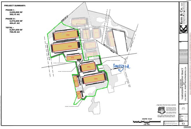 Rezoning for phase II of the Varnedoe Wiggins warehouse development was approved by Port Wentworth city council on July 22. Phase I (grayed out) was approved in May. Phase III has yet to come.
