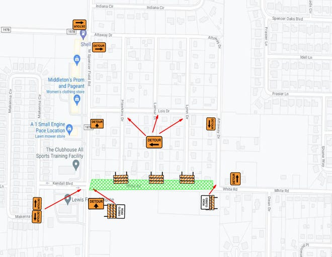 This map shows the detours set up due to the closure of White Road in Pace. The closure has been extended through Aug. 11 due to weather delays.