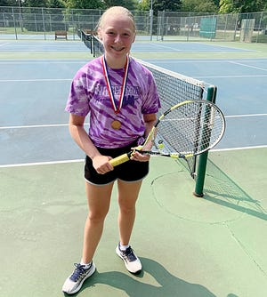 Hannah Pesek finished third in the Purple Group during the Watertown Park and Rec Junior Tennis League.