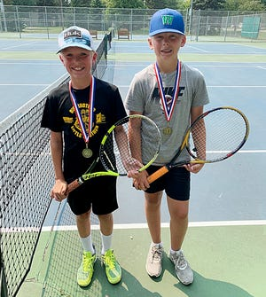 Purple Group place winners in the Watertown Park and Rec Junior Tennis League included, from left, Lucas Meester (second place) and Matthew Bertsch (first place).