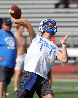Highlands quarterback Charlie Noon attempts a pass during the seven-on-seven practice with Anderson, Madeira, Highlands and Trotwood high schools at Anderson High School July 27, 2021.