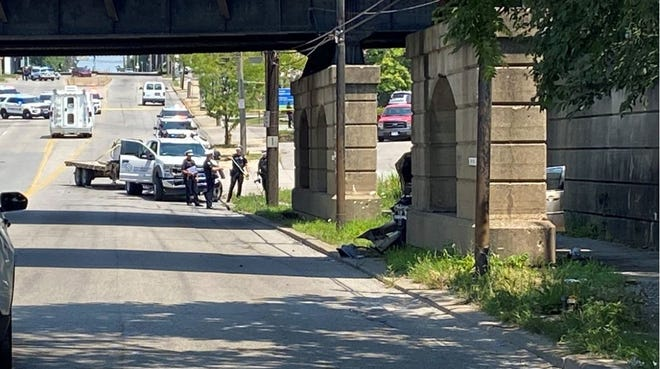 A crash near the Norwood Lateral on Paddock Road Tuesday about noon left one person dead and a second person injured.