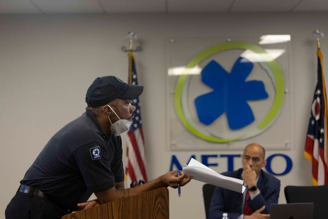 Jamar Dunbar, a metro operator for 9 years, speaks during a Special SORTA Board Meeting on the busing shortage, Tuesday, July 27, 2021, at SORTA/Metro on the fifth floor of the Huntington Bank Center in the Downtown neighborhood of Cincinnati, Ohio.