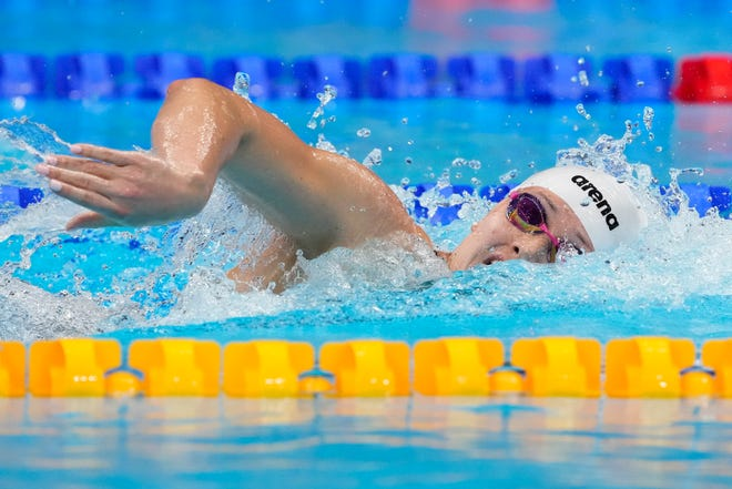 Former Wolverine Siobhan Haughey, of Hong Kong, swims in a women's 200-meter freestyle semifinal at the 2020 Summer Olympics on Tuesday in Tokyo, Japan.