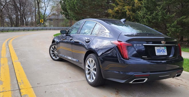 The distinctive rear view of the 2021 Cadillac CT5. Underneath is all-wheel drive, cargo room and 335 horsepower.