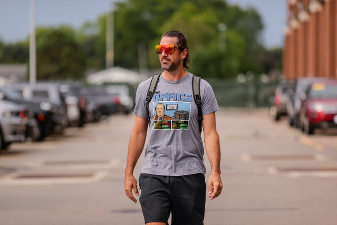 Green Bay Packers quarterback Aaron Rodgers arrives for training camp at Lambeau Field on Tuesday, July 27, 2021.