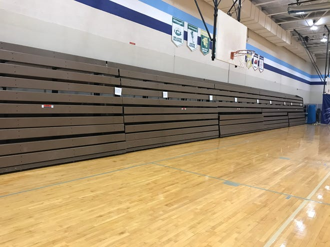 The campus recreation center's manual bleachers were recently taken out to make way for motorized bleachers, expected in October.