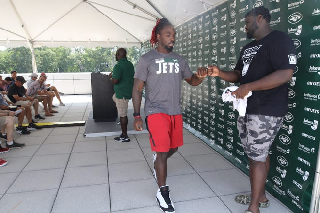 The Jets hold a press conference in Florham Park, NJ on July 27, 2021 attended by linebacker CJ Mosely and Mekhi Becton where they spoke about the start of training camp that starts at the Jets training facility tomorrow.