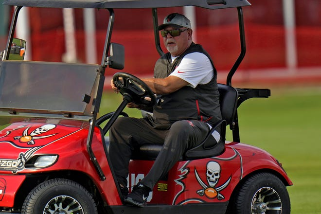 Tampa Bay Buccaneers head coach Bruce Arians watches during an NFL football practice Tuesday, July 27, 2021, in Tampa, Fla. (AP Photo/Chris O'Meara)