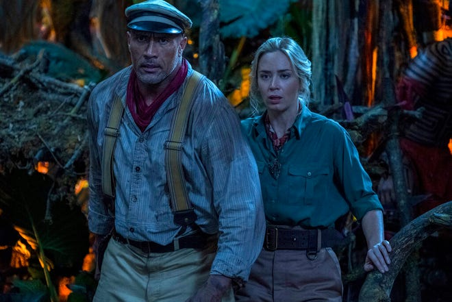 """Emily Blunt, right, and Dwayne Johnson star in """"Jungle Cruise."""" The movie opens Friday at Regal West Manchester, Queensgate Movies 13 and Hanover Movies 16 and on Disney+."""