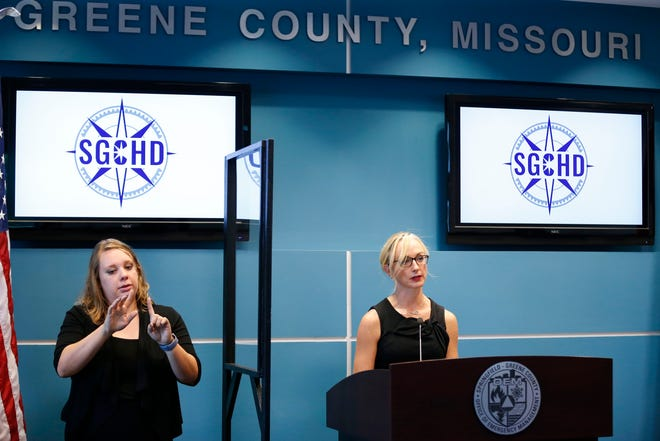 Springfield-Greene County Health Department Director Katie Towns speaks at a press conference at the Greene County Public Safety Center on July 27, 2021. The department withdrew its request to the state for a field hospital in the area, Gov. Mike Parson's office said Thursday.