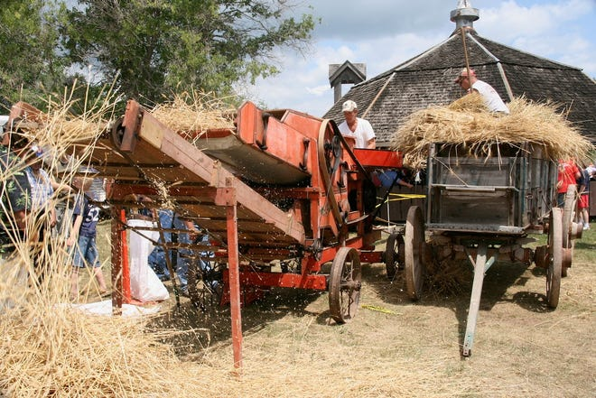Threshing equipment from the early days of the 20th Century was in operation at the Union Thresheree.