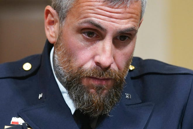 Washington Metropolitan Police Department officer Michael Fanone listens to testimony during the House select committee hearing on the Jan. 6 attack on Capitol Hill in Washington, on July 27, 2021.