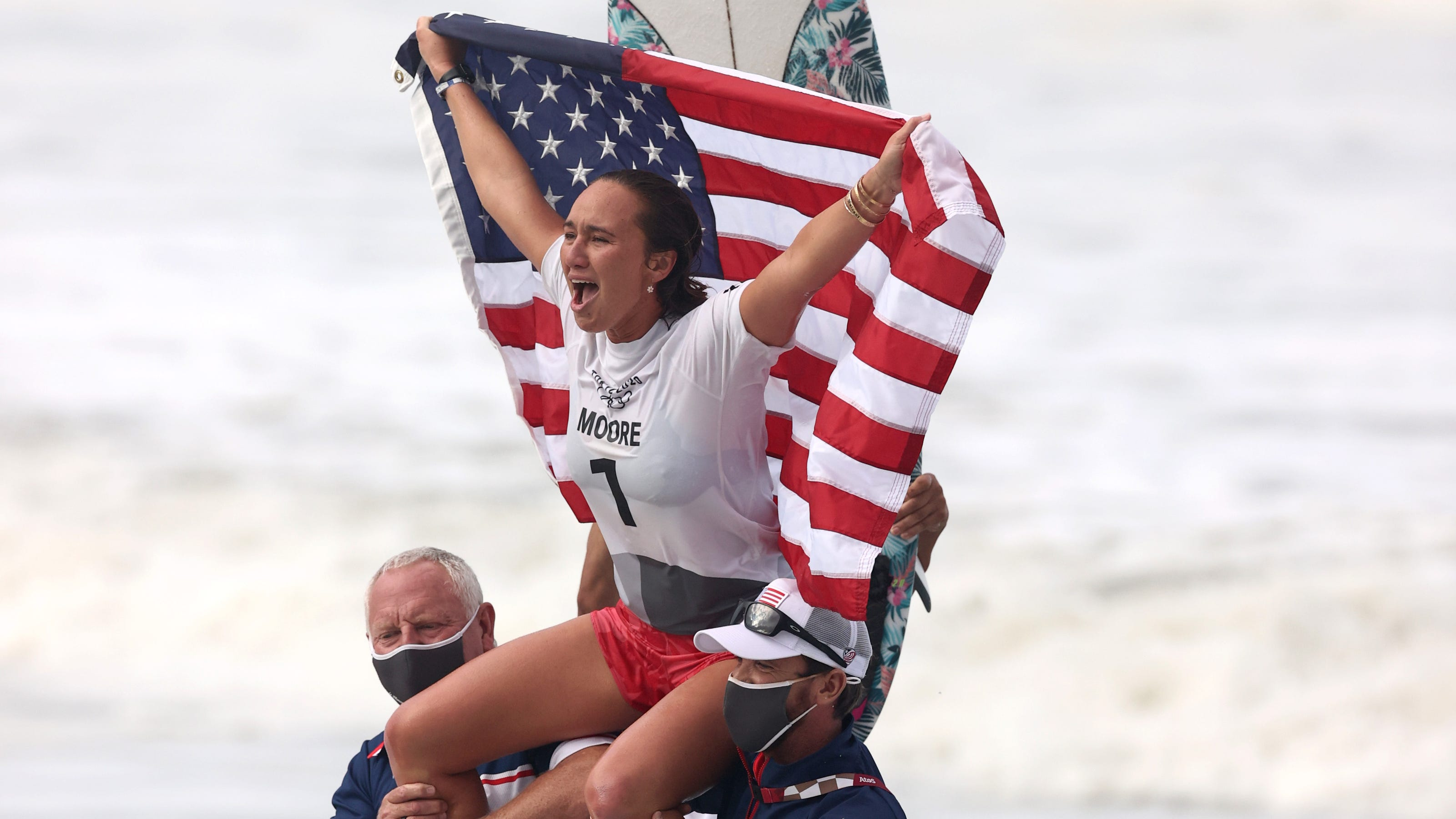 American Carissa Moore wins gold medal in surfing's Olympic debut