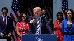 Former President Donald Trump speaking at Trump National Golf Club in Bedminster, New Jersey, in July when he announced plans to sue Facebook, Google and Twitter, claiming the companies violated his First Amendment rights when they booted him off their social media platforms.